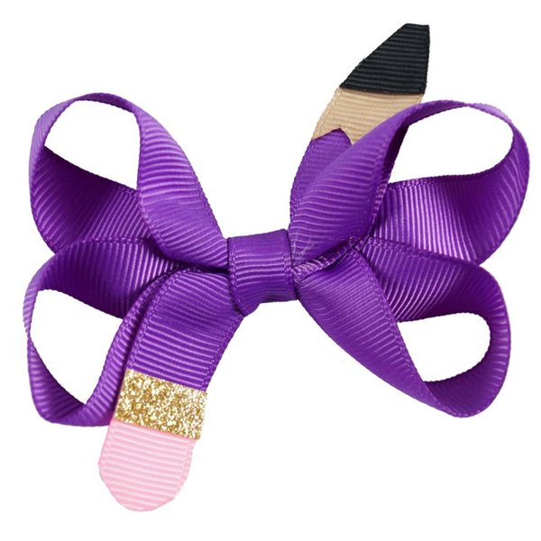 Hair Accessories 18 Piecs /Lot 3 Cute Pencil Hair Bows With Ribbon Covered Clip For Kids Girls Handmade Glitter Bows Hairpins