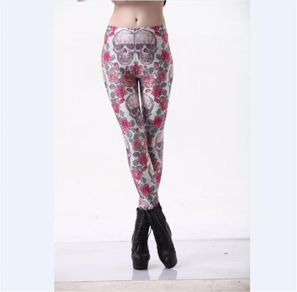 Wholesale Free Shipping Hot Sell Women Skull Flower Map 3d Digital Print Trousers Stretch Pants Skinny Leggings Tight