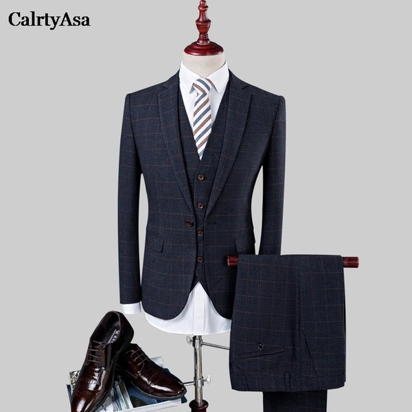 CalrtyAsa Business Tuxedos Plaid Groomsman Suit Top Quality Single Buttons Suits 2018 Man Dress Suits Three-piece Navy Blue 4XL