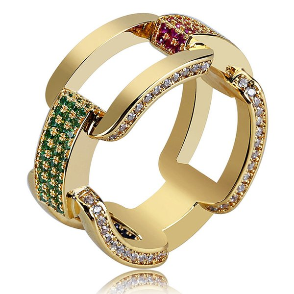 Los nuevos hombres de la llegada Hip Hop Cubic Zirconia Anillos Iced Out Micro Colorful CZ Chain Ring Gold Plated Brass Punk Jewelry