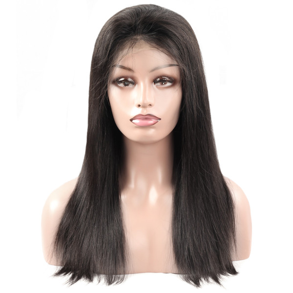 Ishow Hair 8A Brazilian Mink Straight full lace human hair wig Peruvian Straight lace front wigs Non-Remy Full Lace Wigs Bleached Knots