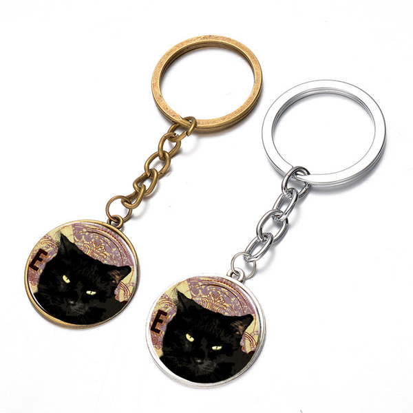 Black cat Halloween time gem key pendant euramerican fashion ornament auto accessories gift promotion package mail