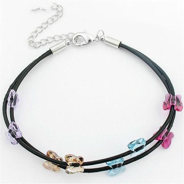 Cristal de Swarovski Elements Pulseras del encanto Mariposa Negro Cuerda de cuero Cadena Para Mujeres Joyería de moda Vintage 165