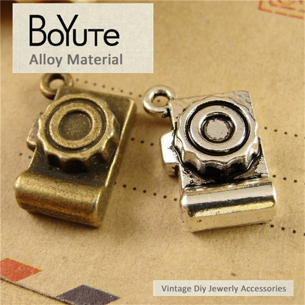 BoYuTe (50 Pieces/Lot) 12*19MM Antique Bronze Silver Plated Zinc Alloy Camera Diy Hand Made Charms Pendants for Jewelry Findings Components