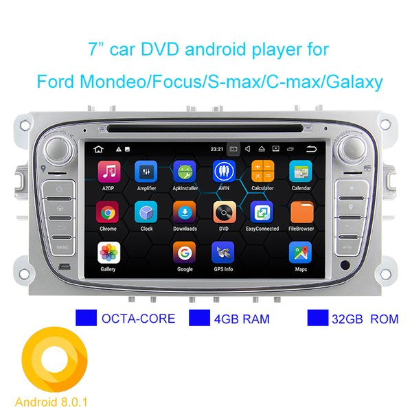Android 8.0.1 Two Din 7 Inch 1024*600 Car DVD Player For FORD/Focus/S-MAX/Mondeo/C-MAX/Galaxy RAM4G 32GB ROM WIFI GPS Navigation Radio