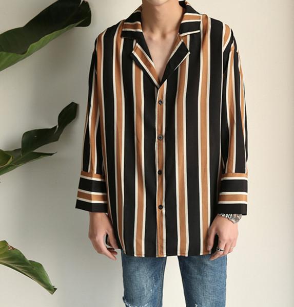f17ba77d37 Korean Harajuku Chiffon Vintage retro Striped Pajamas Shirts Men Women  Cotton Hip Hop Casual Loose BF Couple Shirt Men