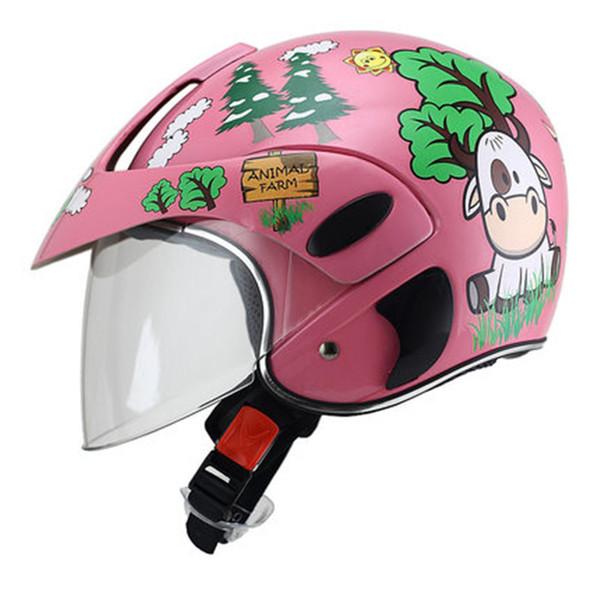 Motorcycle Helmet Vintage Half Open Capacete Moto Helmets For Children Visor Motorbike Safety Scooter Helmets for 2-9 old kids