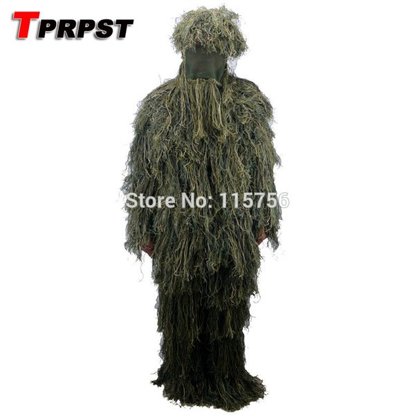 TPRPST 5pcs/set Forest Design Camouflage Ghillie Suit grass type hunting clothing,yowie Sniper 3D bionic camouflage suit NL309