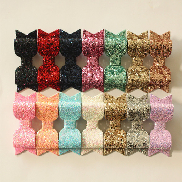 12pc/lot Glitter Felt Hairpins Hair Clip Top Quality Synthetic Shinning PU Leather Girls Kids Hair Barrette Gold Clip