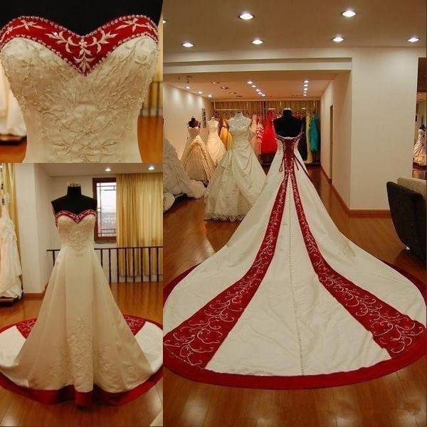 Bordado blanco y rojo Vestidos de novia 2019 Por encargo Nuevo tren de la corte sin mangas con cordones Volver Una línea de vestidos de novia de satén Sweethart W023