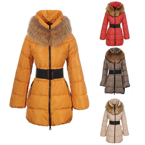 Ski Down Jacket Ladies Long High Waist Fashion Slim Lightweight Breathable Duck Down Warm Detachable Fur Hood Jackets DHL Free Shipping
