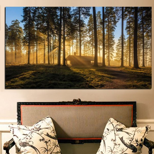 Canvas Paintings HD Prints Poster 1 Piece In Woods Mountain Forests Reveal Morning Sun Kyoto Japan Pictures Wall Art Decor Frame