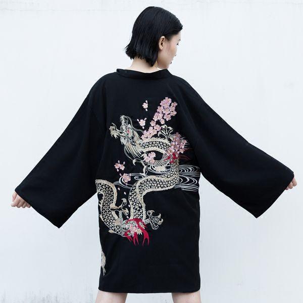 2018 été Japon kimono vintage nouveauté été Harajuku cerise dragon broderie en mousseline de soie protection solaire cardigan femmes vêtements