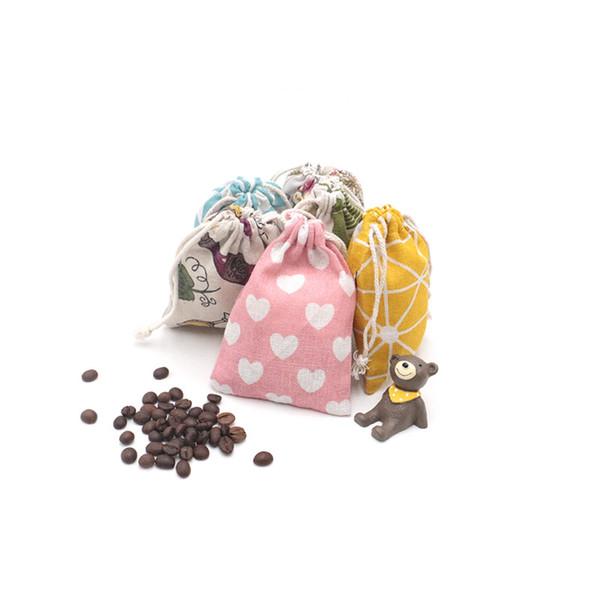 Смешайте стиль 9x12cm 50 шт. / лот хлопок белье шнурок сумка ювелирные изделия конфеты Рождество свадебный подарок сумки пользу серьги дисплей