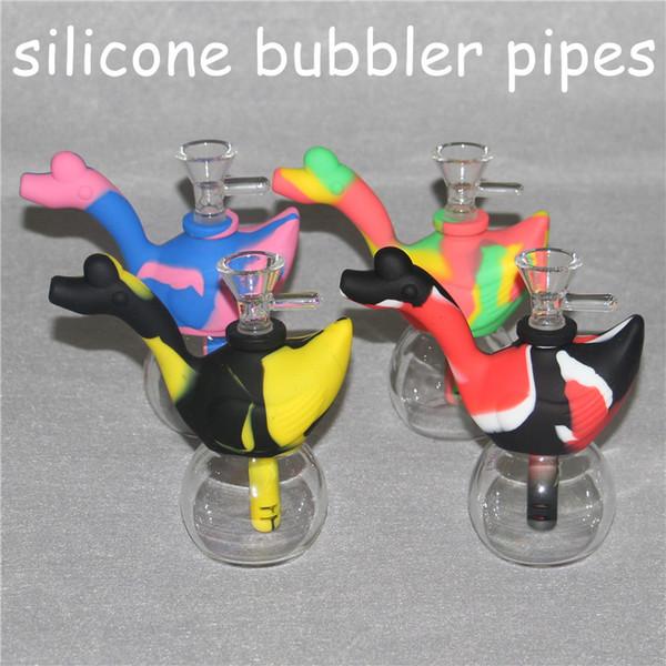 Creative Design Swan Silicone Tobacco Smoking Pipes Mini Water silicone Hookah Bong Multi Colors Portable Shisha Hand Pipes nectar collector