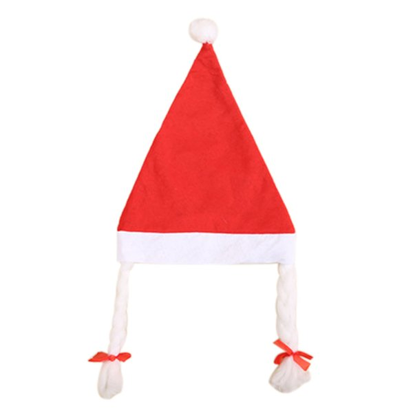 Kids Girls Christmas Hat with Plaits Pigtails Xmas Fancy Dress Decoration