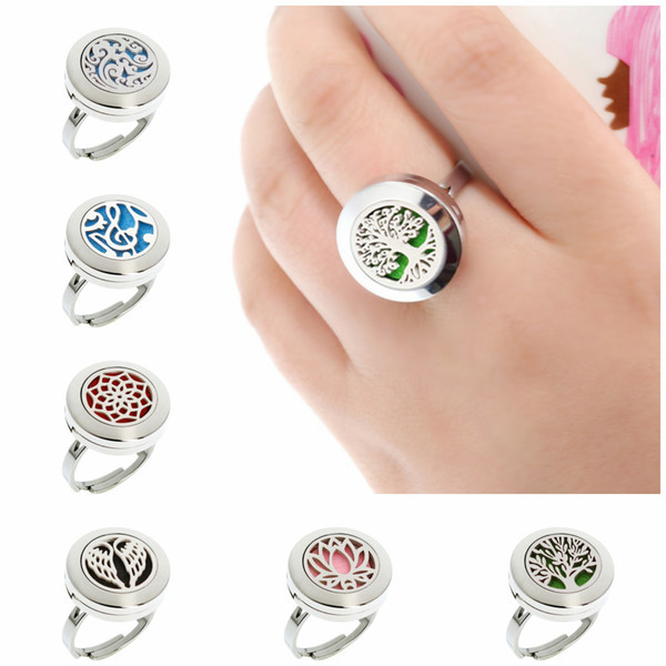Lotus flower Tree of Life Adjustable Rings 20mm 316L Stainless Steel Diffuser Locket Ring Essential Oil Perfume Locket Ring With 10pcs Pads