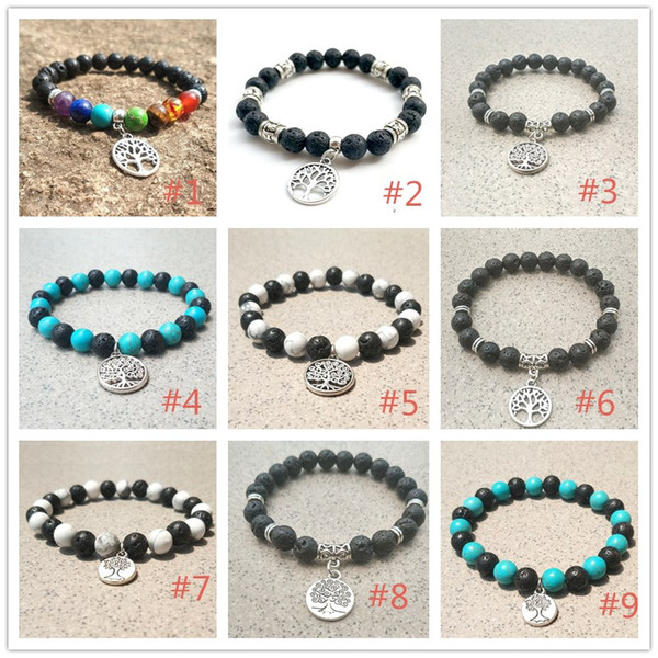 9 Styles 8mm Natural Lava Stone Beads Tree Of Life chakra Bracelet Aromatherapy Essential Oil Diffuser Bracelet for women men