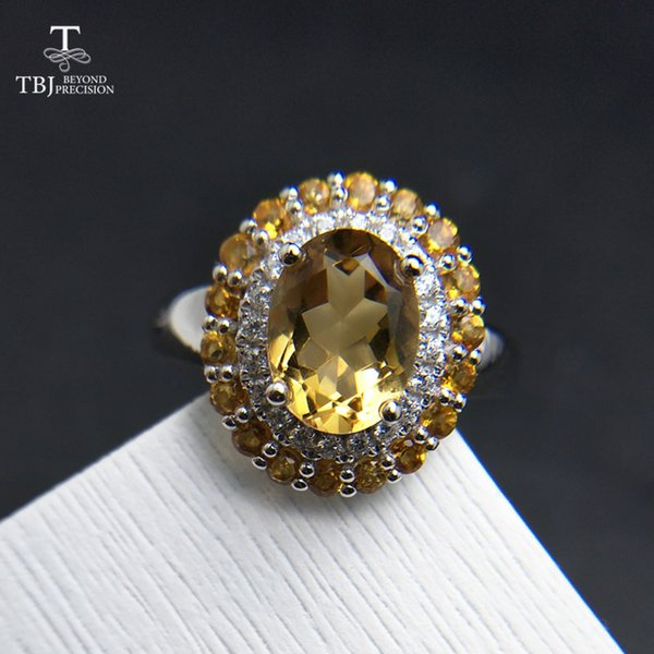 TBJ,Classic high quality gemstone design with natural brazil citrine solid 925 silver women Ring anniversay wedding party gift