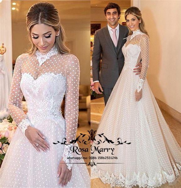 Discount Romantic High Neck Long Sleeves Wedding Dresses 2019 A
