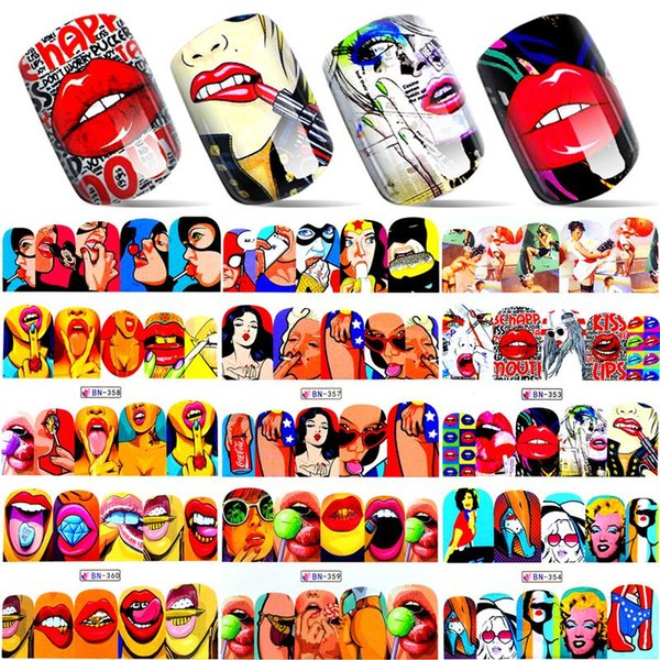 ZKO 1 Blatt 2018 New Nail Fashion Aufkleber Full Cover Lippen Nette Druck Wassertransfer Tipps Nail art Dekorationen