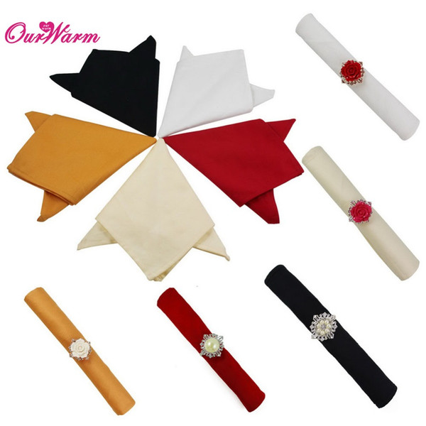 "12 Pieces Multicolor 12"" Square Pure Cotton Table Napkin Dinner Pocket Handkerchief Cloth Napkin Wedding Decoration Home Textile"