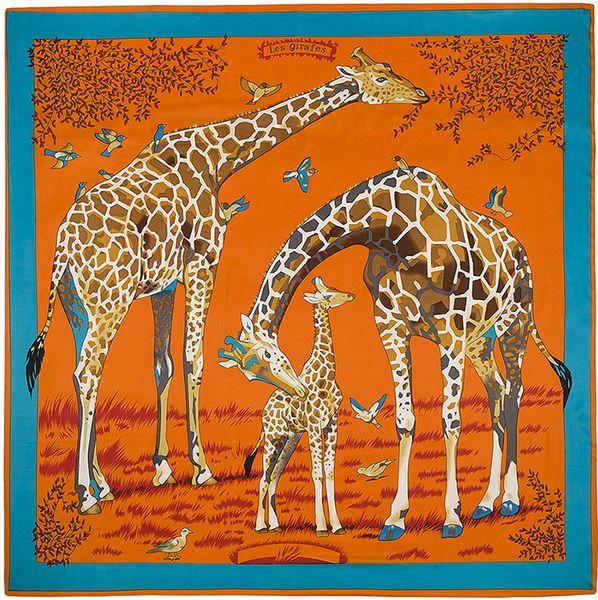 2018 Joker Square Silk Women Animal Print Scarf Fashion Giraffe Pattern Foulard Femme Echarpe Large Twill Scarves Wholesale Dropshipping 130