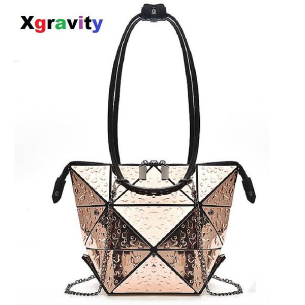 Xgravity Gota Rhombic Envelope Geometria Envelope Ombro Moda Casual Lady Bolsa Triangle Design Mulheres Gotas De Água Sacos H052