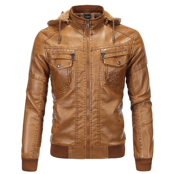 New Vintage Retro Motorcycle Jackets Men PU Leather Jacket Racing Hooded Biker Punk Casual Coats Motorcross Windproof Coat