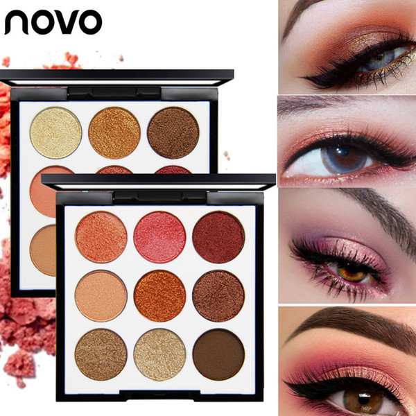 NOVO Princess Rhapsody 9 Color Eyeshadow Palette Warm Shimmer Dry and Wet Eye Shadow Red Burgundy Peach Eyes Makeup