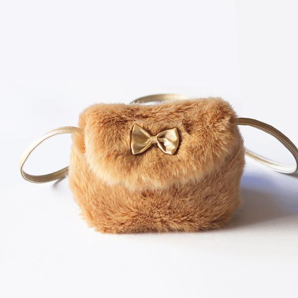 Winter Faux Fox Fur Kids Girl Lovely Bowknot Mini Shoulder Crossbody Bag Handbag