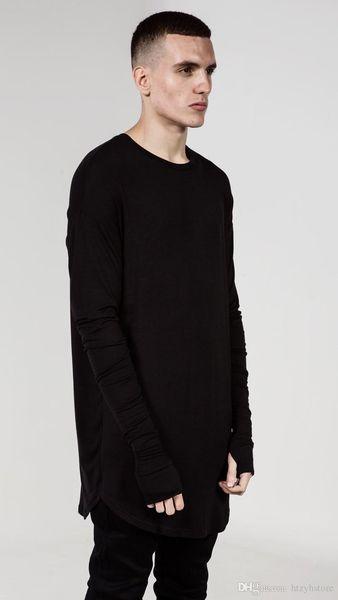 QoolXCWear NEW Thumb Hole Cuffs Long Sleeve T-shirt Tyga Swag Style Mens Side Split Hip Hop Top Tee T Shirt Crew Wool T-shirt Men