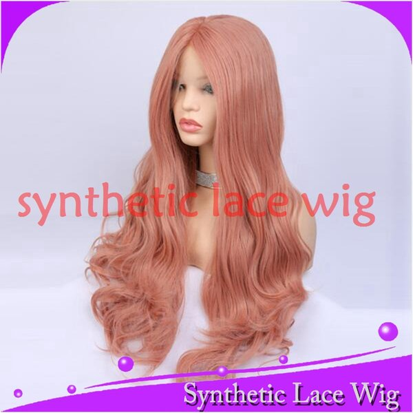 mhazel 26in 150%denstiy middle part dark pink long wavy synthetic glueless front lace cosplay hair wig