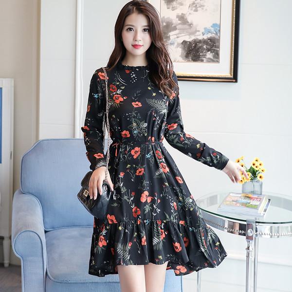 Compre Moda Coreana 2018 Nueva Moda Mujer Manga Larga Estampado Floral Vestido Primavera Mori Niña Flor Vestidos De Gasa Volantes Rojo Negro A 3036