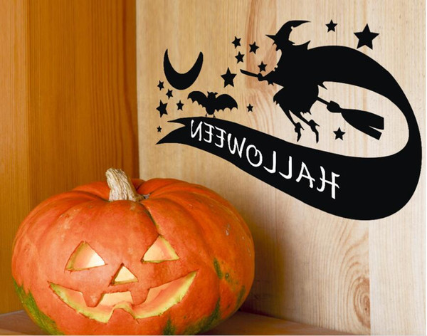 Mix Order Halloween witch skeleton bat DIY Wall Sticker Decals wholesale Removable Vinyl Wall Art Stickers for Home or Office