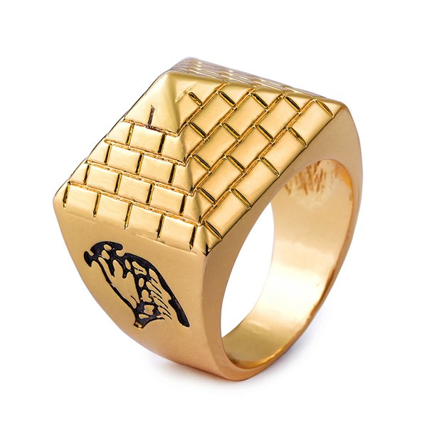 New Arrival Egyptian Pyramids Alloy Metal Men Rings Gold Color High Quality Hip Hop Fashion Jewelry Geometric Pyramid Ring