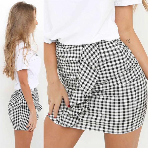 women asymmetrical skirts womens casual high wasit a-line falbala ruffle skirt grid stripe striped skater skirt bd1807