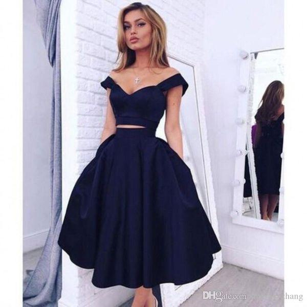 2020 Vestidos de Fiesta Baratos Vestidos de Fiesta Fuera del Hombro Recorte Sexy Cintura Negro Chica Vestido de Fiesta Longitud de Té Vestidos de Graduación Negros