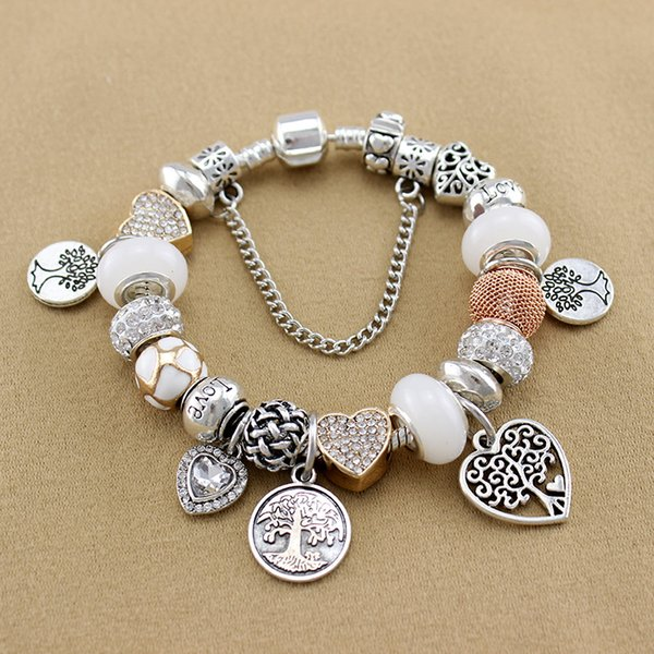 whole saleYILIANFEI The Tree of Life Pendant Loving Heart White Crystal/Glass Beads Charm Pan Bracelets & Bangles For Women BT0017