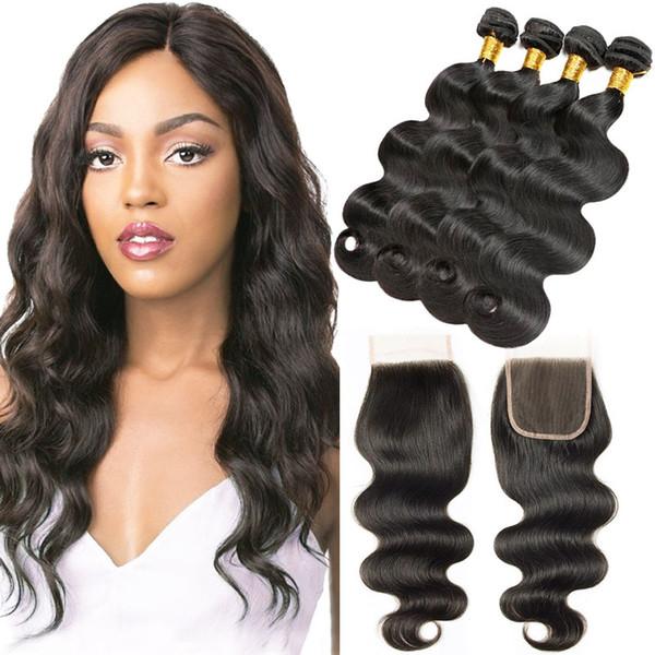 Body Wave Virgin Hair Bundles 4 Pieces with Lace Closure Natural Black Real Human Hair Extensions 100% Unprocessed Best Virgin Hair Bundles