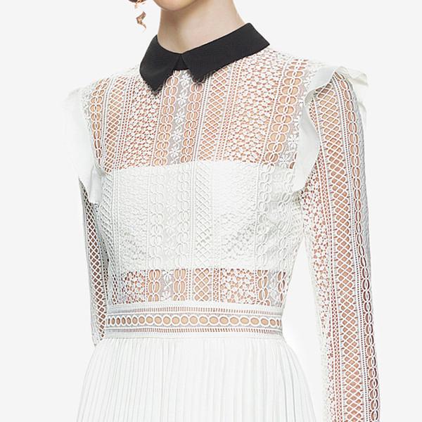 Maxi-Kleid mit getäfelten Spitzen, Weiß, Passform und Flare Stilvolles Langes Kleid QWA1815 45