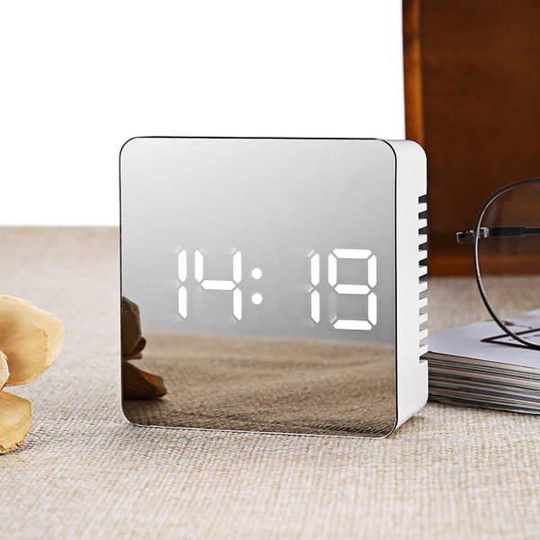 LED Alarm Clock Multifunction Digital Electronic LED Mirror Clock Temperature Snooze Large Display Home Decor Mirror Function