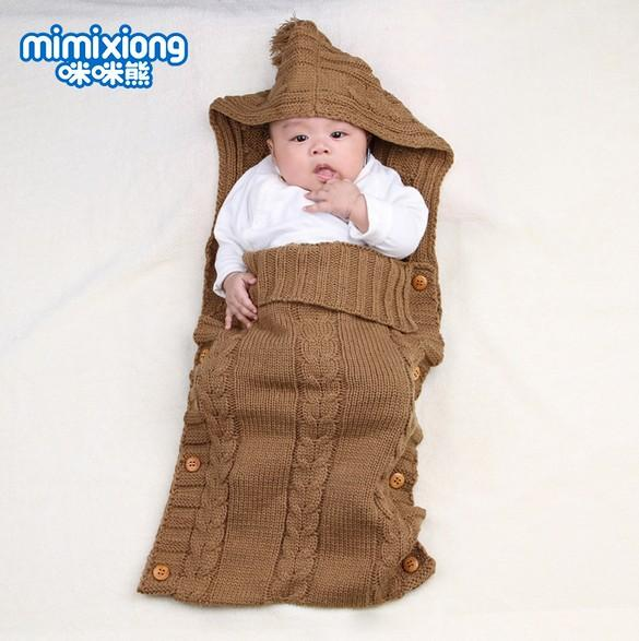 new style e06f4 28a9b Newborn Toddler Hoody Stroller Sleep Sack Baby Winter Sleeping Bag Autumn  Warm Knitted Envelope For Infant Boys Girls 0 1Y Little Girl Sleeping Bags  ...