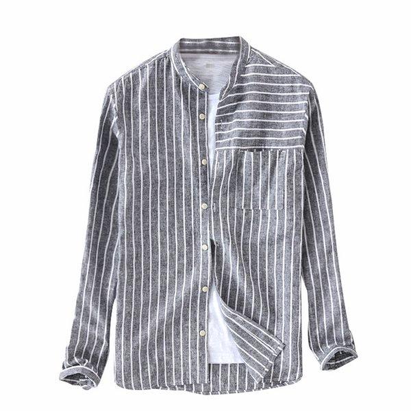 4cc100d8ac4 Новый Suehaiwe бренд мужской полосатый хлопок стенд воротник с длинным  рукавом рубашки лен черная полоса рубашки
