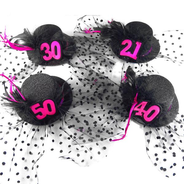 2pcs birthday Mini top hat women facinator hair clips costume accessories fun souvenir birthday decoration event party supplies