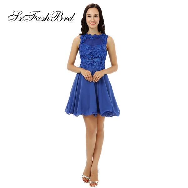 Fashion Elegant O Neck With Lace A Line Mini Short Blue Chiffon Party Formal Evening Dresses for Women Prom Dress Gowns