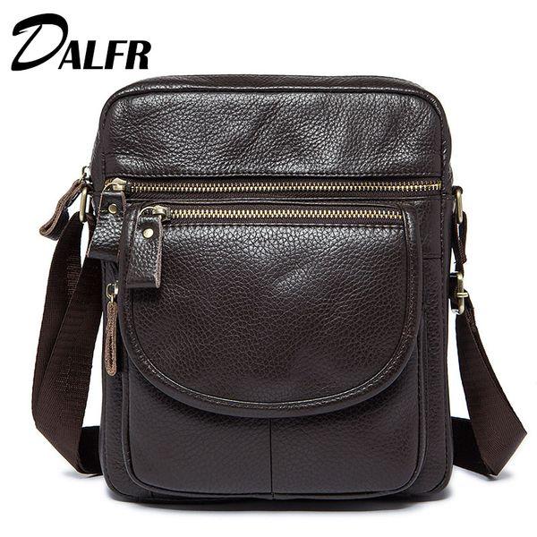 b2a448092973 DALFR Натуральные кожаные наплечные сумки Мужчины 12-дюймовые мужские повседневные  сумки-мессенджеры Кросс-