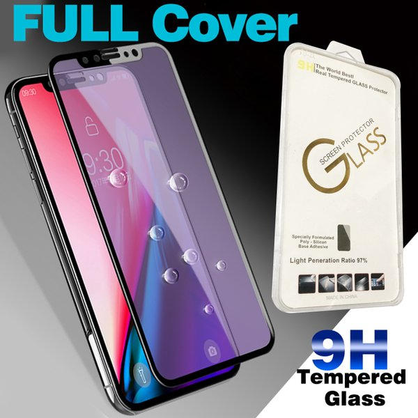 Tempered Glass Film For iPhone 6 7 8 X XR XS Silk screen Front Phone Screen Protectors color box For LG Moto