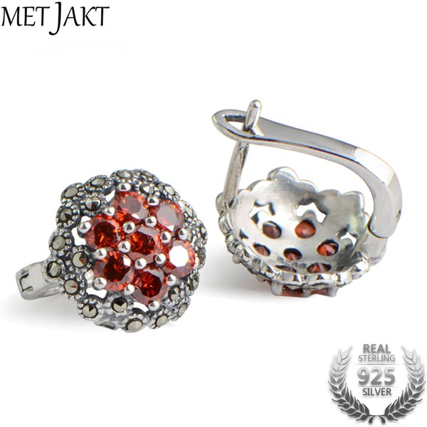 MetJakt S925 Sterling Silver Ruby Clip Earring with Zircon for Women Wedding Party Luxury Vintage Thai Silver JewelryY1883009