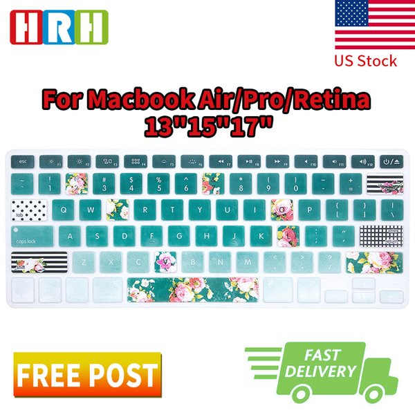 HRH Green Field Flower Silicone Keyboard Cover Skin Protective Film for Macbook Air Pro Retina 13